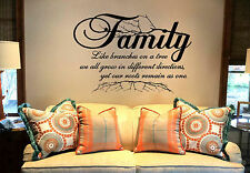 Family Like Branches.. Mural Vinyl Wall Art Lettering Words Decal FREE SHIPPING