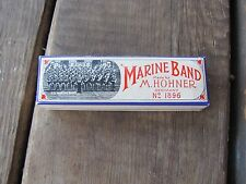 VINTAGE-M.HOHNER MARINE BAND HARMONICA NO.1896 KEY C-EXCELLNT CONDITION WITH BOX