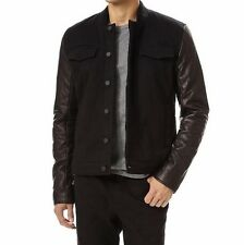T by Alexander Wang Cotton Canvas Jacket with Leather Sleeves (Black)