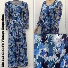 Vintage 70s Blue Floral Hostess Maxi Dress Size 12 Boho Cocktail Party Mad Men