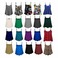 Womens Plain Swing Vest Sleeveless Top Strappy Cami Ladies Plus Size Flared 8-26