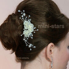 Bridal Prom Headpiece Bridesmaid Jewellery Ivory Flower Satin Hair Comb T1376