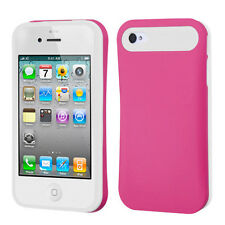 For iPhone 4 4S TPU Candy HYBRID GLOW Case Phone Cover Hot Pink White accessory