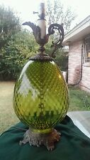 VINTAGE 70s RARE GREEN DIAMOND LAYOUT GLASS and DETAILED METAL TABLE LAMP Retro
