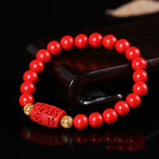 Chinese 8MM Natural Red Organic Cinnabar  Elastic Bracelet Lucky Amulet Hot