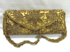 Indian Bridal Wedding Ethnic Purse Bead Evening Party Bag Clutch Prom Beige-Gold
