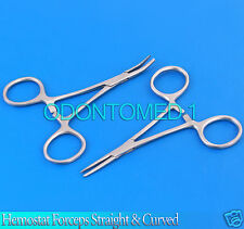 "New 2pc Set 3.5"" Straight + Curved Hemostat Forceps Locking Clamps Stainless"