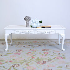 Shabby Cottage Chic French Style White Long Coffee Table Roses Home Furniture