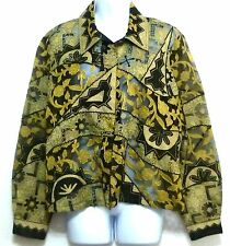 Sandy Ladies Black and Gold Semi Sheer Embroidered Shirt - Size Large (12-14)
