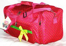 """20"""" PINK WITH GREEN POLKA DOTS 40LB CAP. DUFFLE GYM BAG LUGGAGE CARRY ON AR5PGR"""