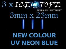 3 X ICE UV NEON BLUE ICE@TOPE Carp Fishing 3mm X 23mm FULL MAX POWER isotopes