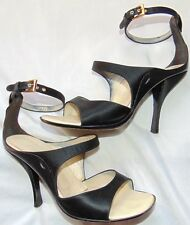Womens Black Satin PRADA Ankle Open Toe Heels Shoes Sz 37/7