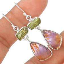Cacoxenite Super Seven & Moldavite 925 Sterling Silver Earring Jewelry EE4348