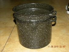 Vintage Black Speckled Enamel Two Piece Stock Pasta Pot Steamer Strainer Camping
