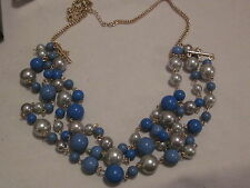 AVON Blue Multi Strand Necklace-Triple Goldtone Strands with Beads & Faux Pearls