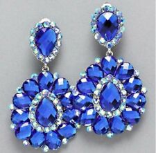 "3"" BiG Long Crystal Royal Blue Rhinestone Bridal Earrings Drag Queen CLIP ON"