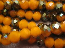 Chinese Crystal Beads 10mm Faceted Roundell 50 pcs Yellow/Metallic