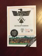 London Ravens v Lee Valley Warriors 1986 American Football Programmes 36 pages