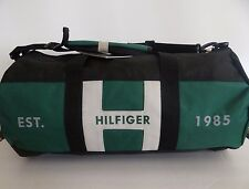 NWT Tommy Hilfiger Men's Green Black Large Canvas Duffle Gym Travel Luggage Bag