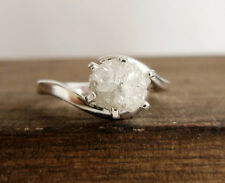 0.61+ CT NATURAL ROUGH UNCUT WHITE DIAMOND STERLING SILVER WEDDING RING NR $98 @