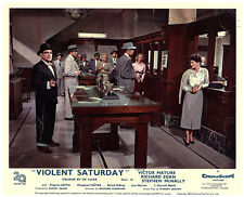 Violent Saturday original lobby card Lee Marvin holds up bank