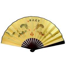 "DOUBLE DRAGON LARGE COLOR FAN 13"" Folding Hand Wall NEW Bamboo Asian Chinese"