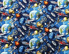 Space Odyssey Space Ships fabric fq 50 x 56 cm Nutex 89050-1 100% Cotton