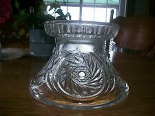 LARGE VINTAGE L.E. SMITH/ MC KEE AZTEC PINWHEEL   PRESSED GLASS PUNCH BOWL BASE