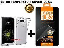 PER  LG G5 Pellicola in Vetro Temperato + Cover Trasparente Ultra Slim