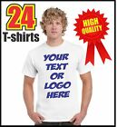 24 CUSTOM SCREEN PRINTED T SHIRTS ONE SIDE ONE COLOR PRINT 100% COTTON T-SHIRTS