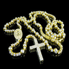 DESIGNER ROSARY MENS WOMEN'S NEW NECKLACE 14K YELLOW GOLD FINISH LAB DIAMOND 32""