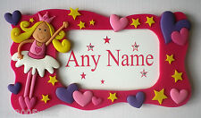 Personalised Name Plaque / Door / Sign. ANY NAME Hearts / Stars /  Fairy / Pink
