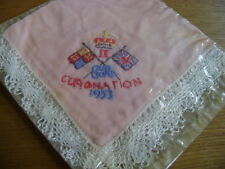 VINTAGE HANDKERCHIEF HANKIE, CORONATION QUEEN ELIZABETH II 1953 EMBROIDERED LACE