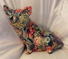 Large seated Pig figurine Floral, flower, berries, & seed packs - Sow hog boar