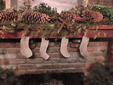 1 Country Burlap Natural Christmas Cotton Stocking 10x3x7 in small