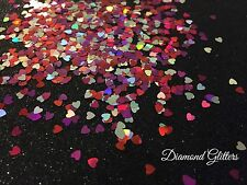 Multi Coloured Heart Shaped Glitter For Detail Work Gel/Acrylic Nail art 3g Bag