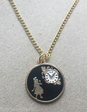 Alice In Wonderland Enamel Pendant Gold Plated Necklace Brand New in Gift Bag