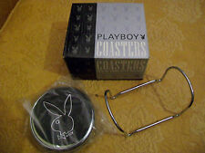 Awesome Leather & Chrome Playboy Bunny Coasters Set (4) w/Stand.NEW in BOX! 2000