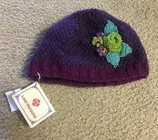 NWT LOST HORIZON KID'S BEANIE SIZE LARGE XL PURPLE FLORAL HANDMADE NEPAL
