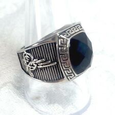 Men's Black Agate Solitaire Ring Size 10 Ornate Stainless Steel Rhodium Plated