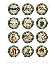"Christmas 2"" 20 round circle vintage picture wreath glossy paper scrap booking"