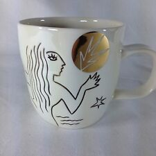 Starbucks 2013 Etched Mermaid Siren Anniversary Mug Cup Gold Accents NEW 12 oz
