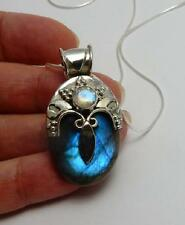 High Priestess necklace .925 sterling silver pagan wiccan labradorite moonstone