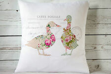 """Floral Geese - 16"""" cushion cover French shabby vintage chic - UK handmade"""