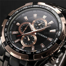 CURREN LUXURY MEN'S SPORT STAINLESS STEEL STEEL STRAP QUARTZ ANALOG WRIST WATCH