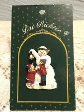 New Pat Richter Designs Finely Painted  Snowman Lapel Pin Polyresin