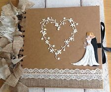 Vintage Lace,Hessian & Burlap Personalised Wedding Album/Memory Book/Guestbook