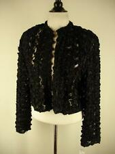womens S Kathleen for Sweet Herb Vtg Black Ribbon Lace Jacket Bolero Gothic NWT