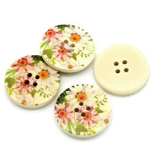 10 Wooden Pink & White Daisy Design  BUTTONS 30mm 3cm Sewing  crafts Free P&P