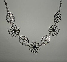 "SILVER PLATED FLOWER AND LEAF NECKLACE CLEAR STONES 18"" PLUS EXTENSION CHAI"